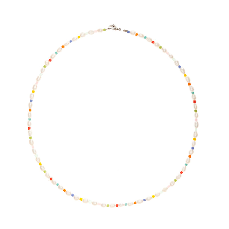 Tiny Rainbow Pearl Necklace