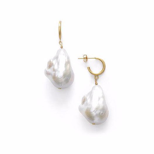 Baroque Pearl Earrings - Hoop