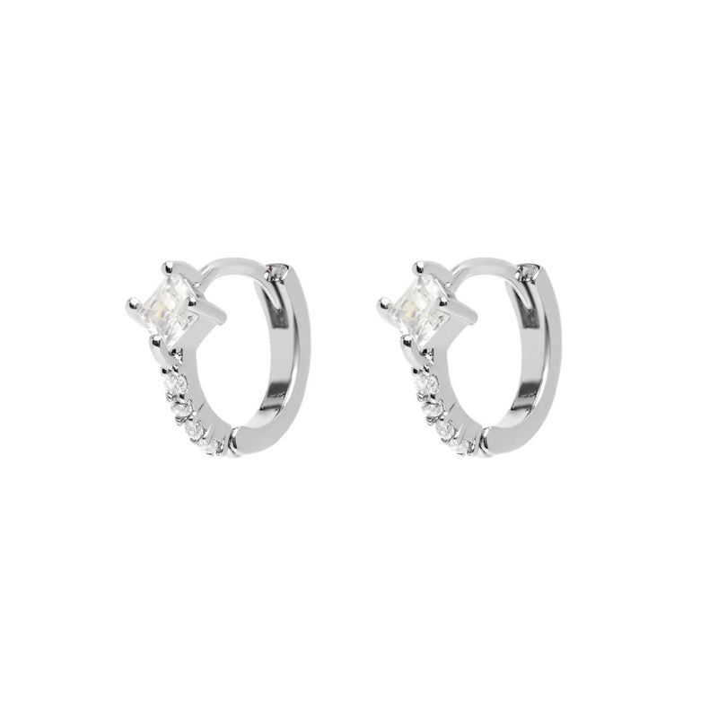 Micro Silver Chrystal Pave Hoops with Drop