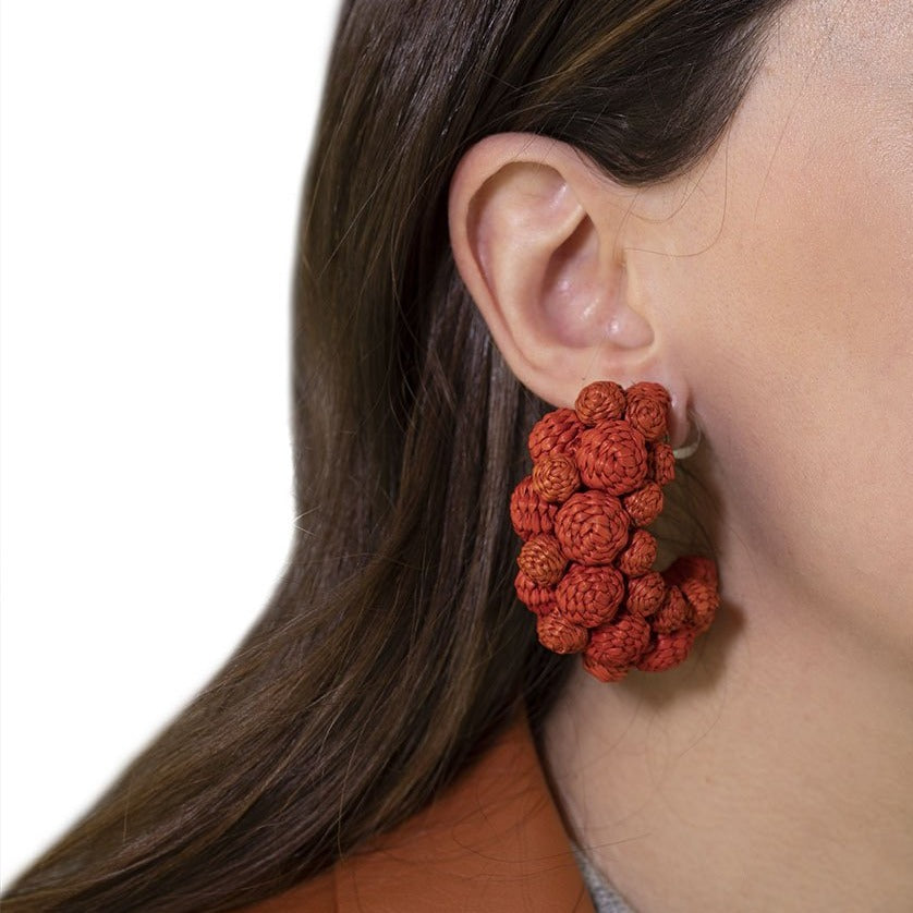 Iraca Palm Alegria Earrings Terracotta