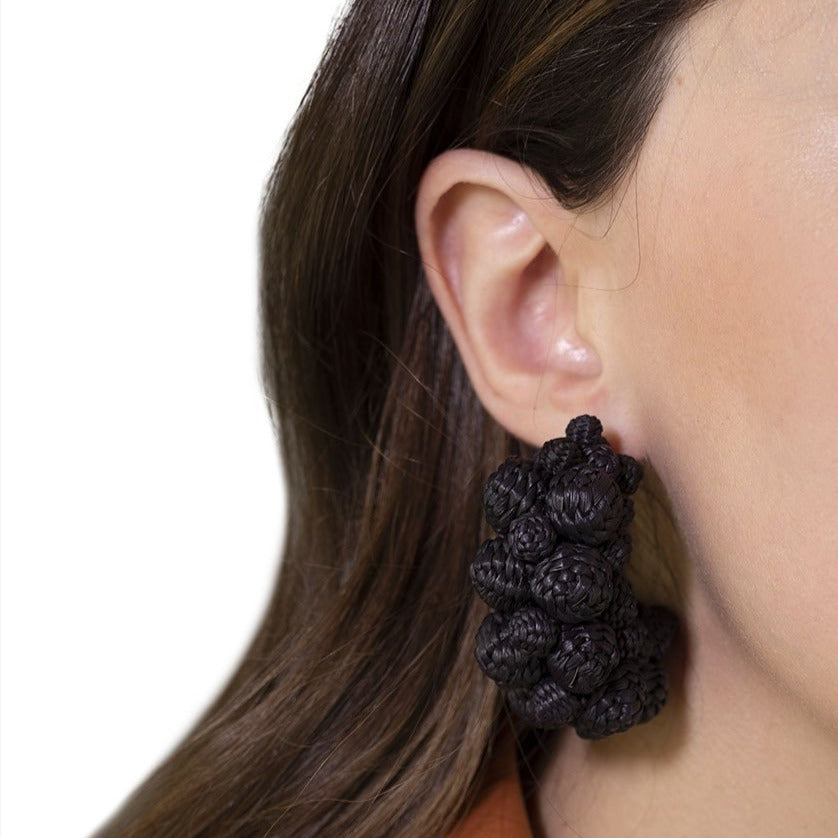 Iraca Palm Alegria Earrings Black