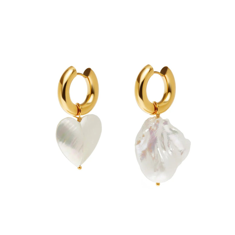 Mismatched Pearl Heart & Pearl Earrings