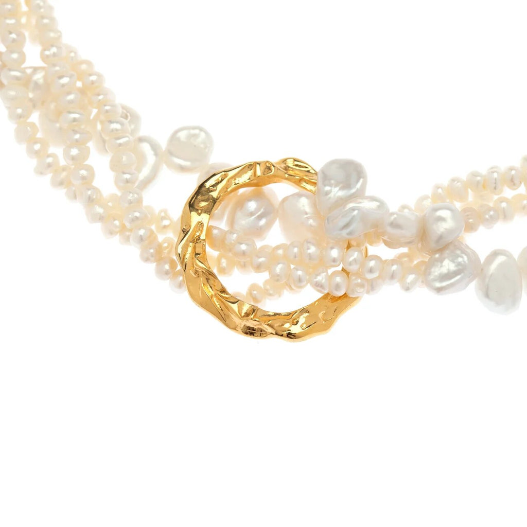 Full Moon Tangled Pearl Necklace
