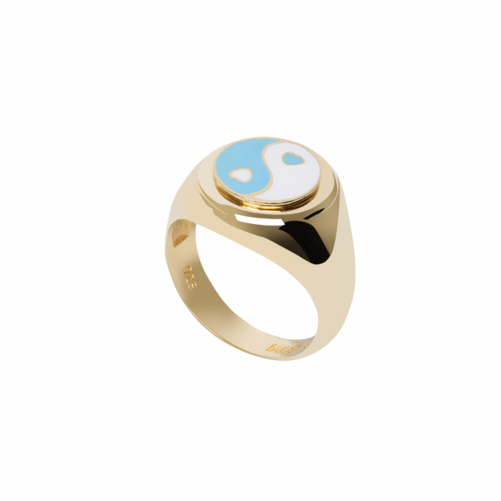 Gold YinYang Blue Ring