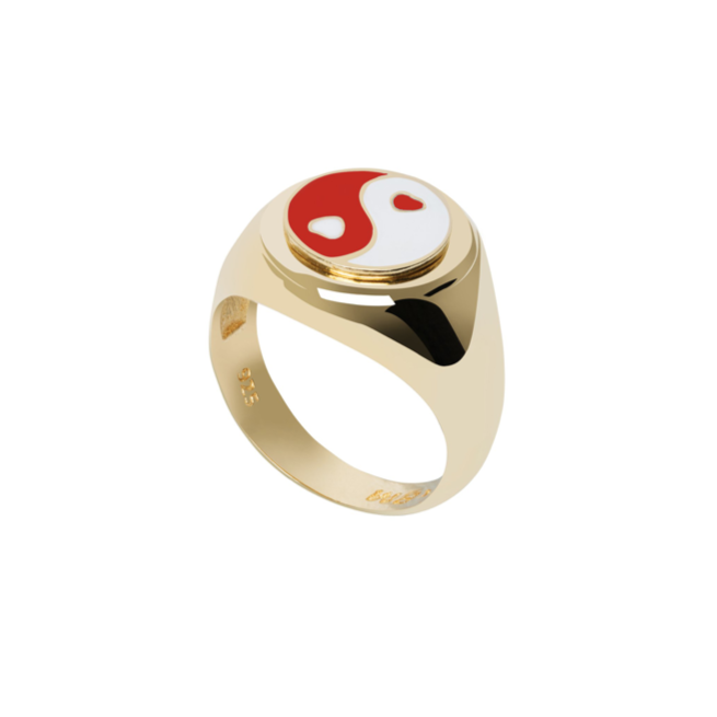Gold YinYang Red Ring