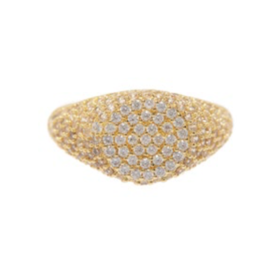 The Pave Signet Ring - Gold