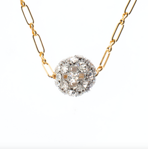 Disco Ball Tiny Gold Chain Necklace