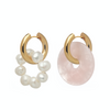Mismatched Rose Quartz & Pearl Earrings Pink