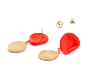 Mithras Earrings-Red/Caramel