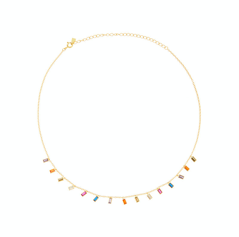 Gold Multicolor Rect Necklace