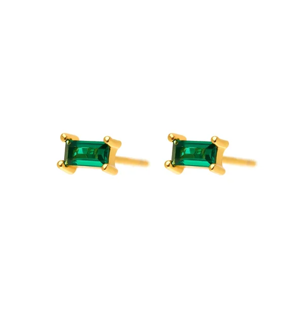 Emerald Gold Rect Earrings