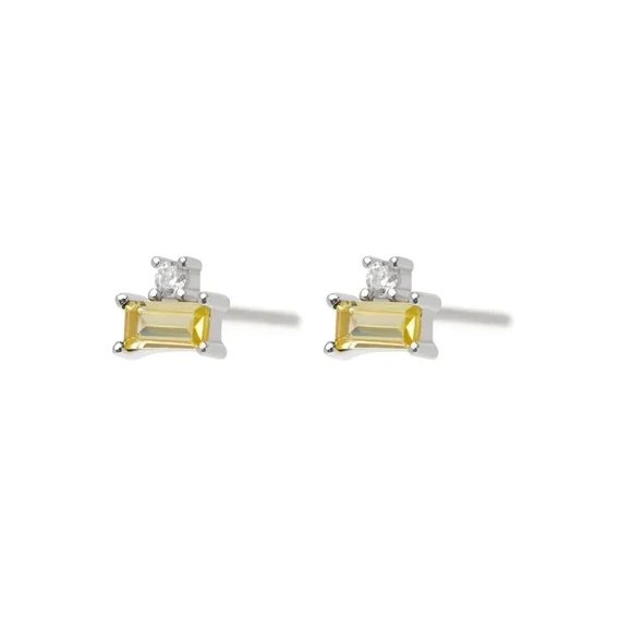 Pale Yellow Rect Earrings