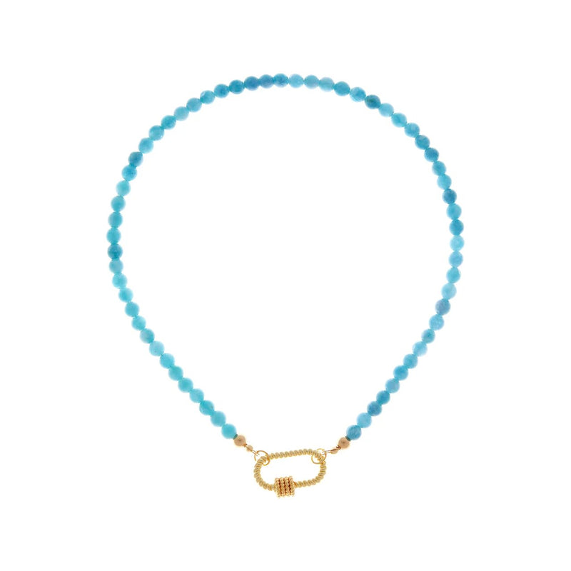 Carabiner Gold Turquoise Necklace
