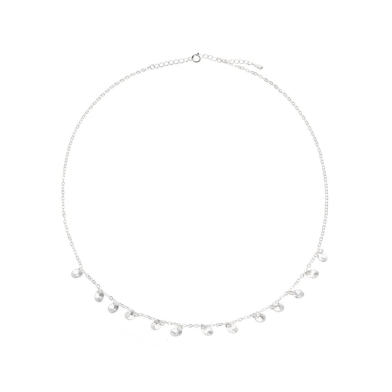 Silver Chrystal Ball Necklace