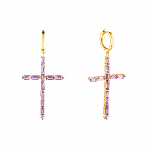 Cross Earrings With Amethyst