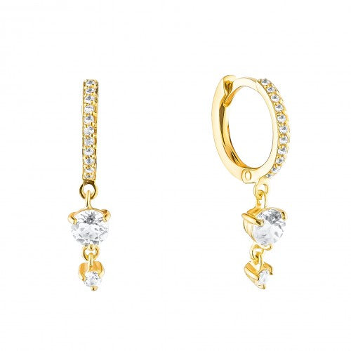Pave Gold Earrings Clicker with 2 stones