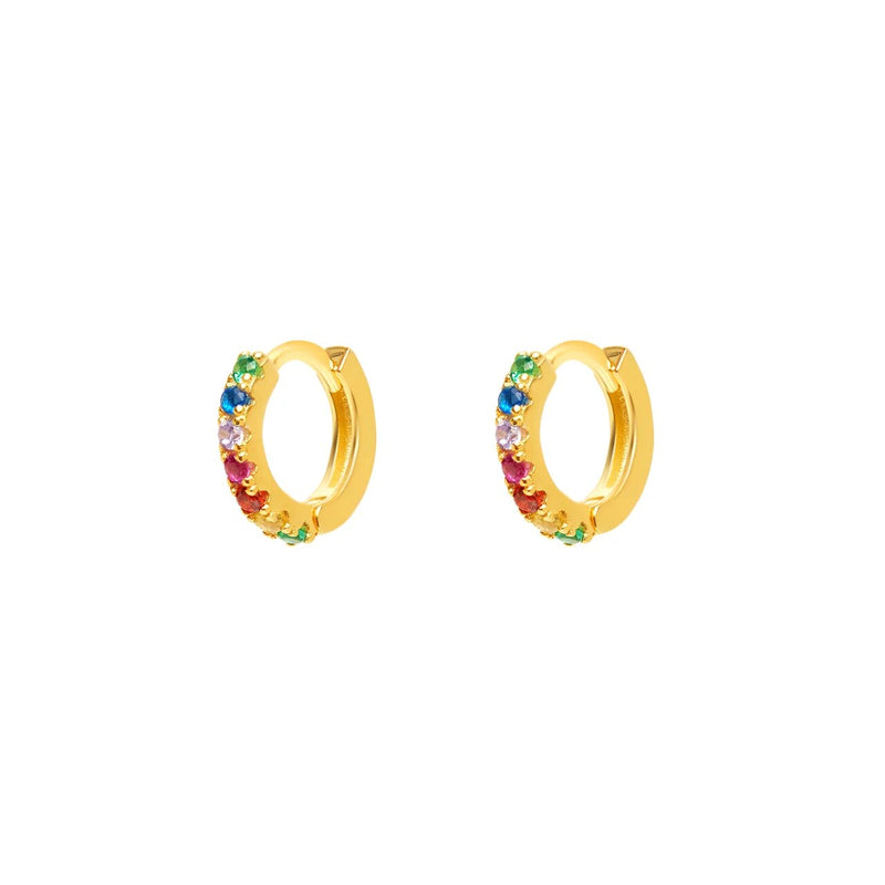 Micro Gold Multicolor Hoops