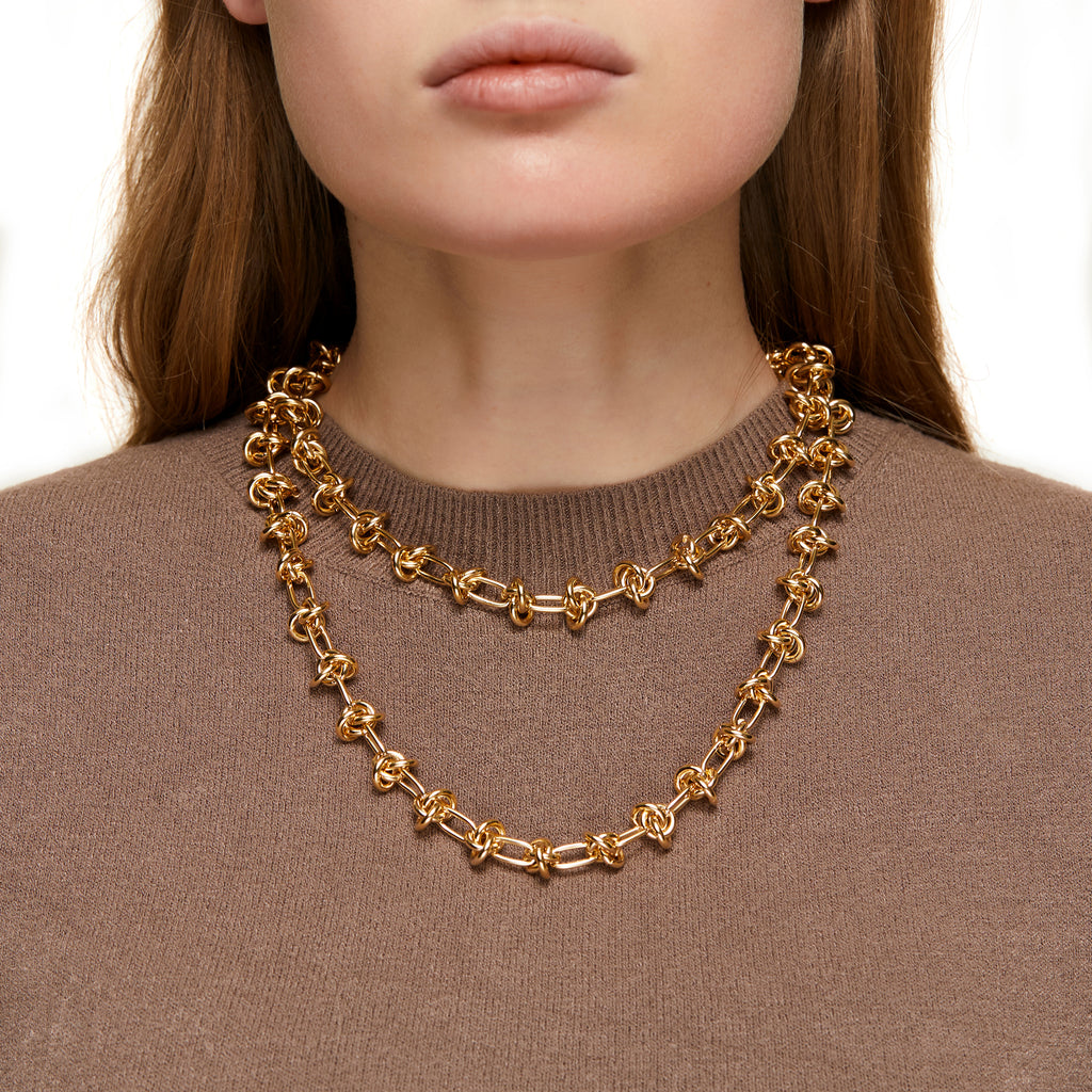 Gold Long Entrelacs Necklace