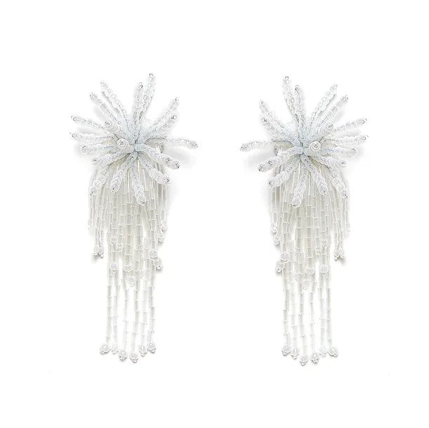 Sea Urchin Beaded Earrings White