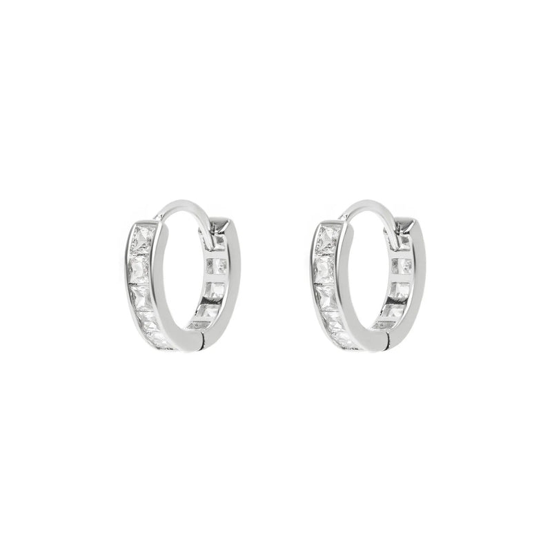 Micro Silver Chrystal Pave Hoops