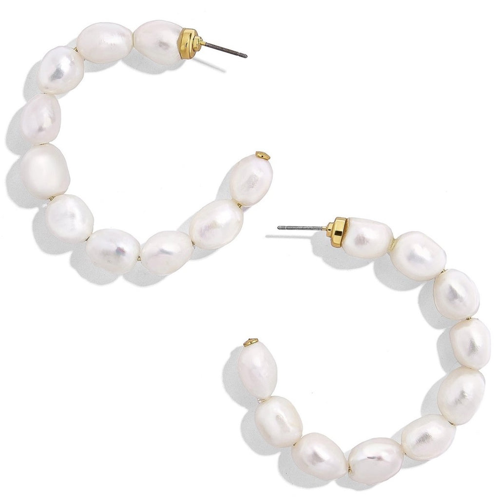 Dafina Pearl Hoop Earrings