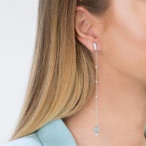 Silver Long Earrings with Blue Topaz