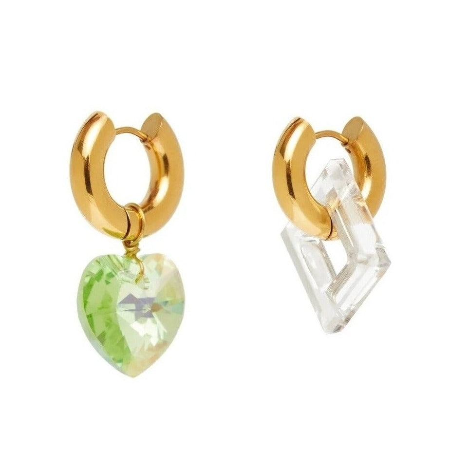 Mismatched Crystal Green Heart And Transparent Square