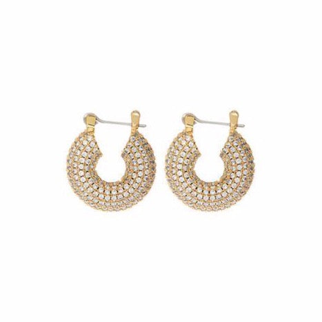 Pave Mini Donut Hoops - Gold