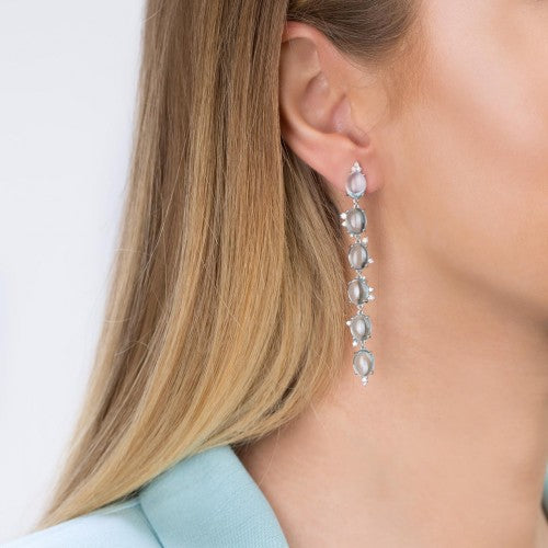 Big Earrings with Blue Topaz