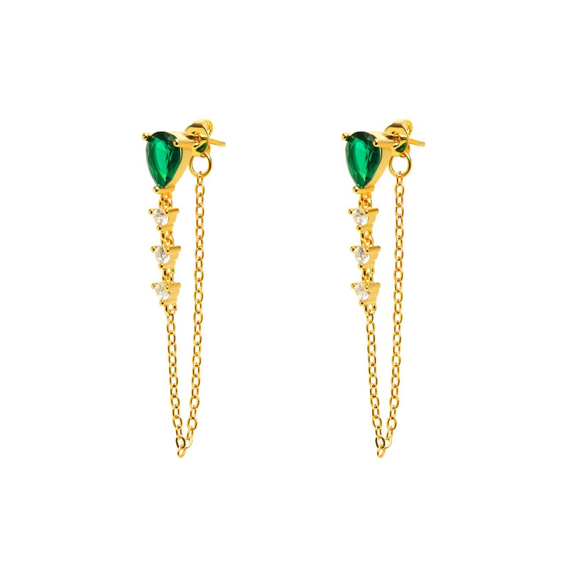 Drop Earrings with Chain - Green