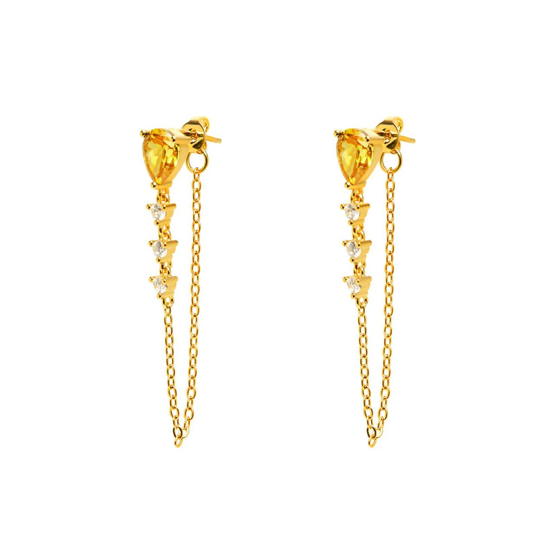 Drop Earrings with Chain - Yellow