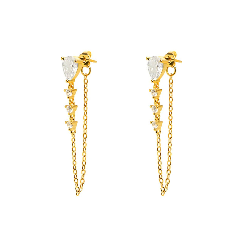 Drop Earrings with Chain - Chrystals