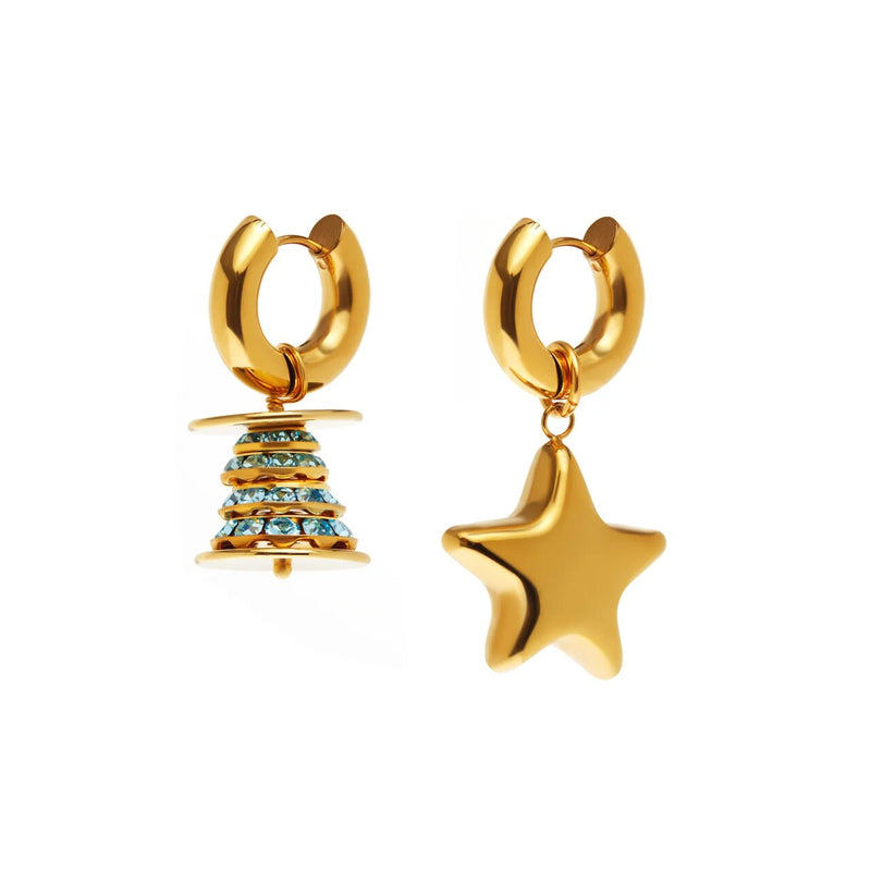 Gold Spruce And Star Earrings