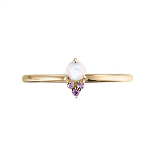 Gold Ring with Opal and Amethyst