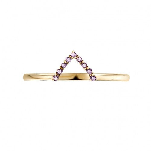 V-form Gold Ring with Amethyst