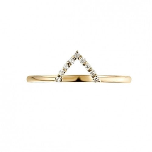 V-form Gold Ring with Diamonds