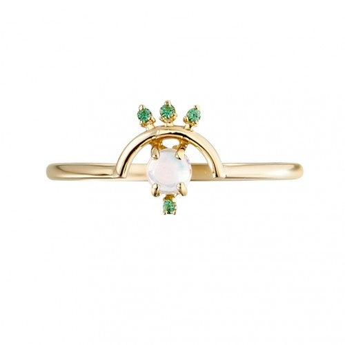 Arc-form Gold Ring with Opal and Tsavorite