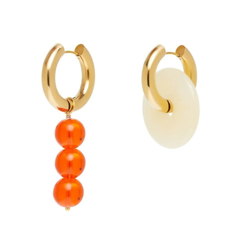 Mismatched White Donut & Pearl Earrings Orange