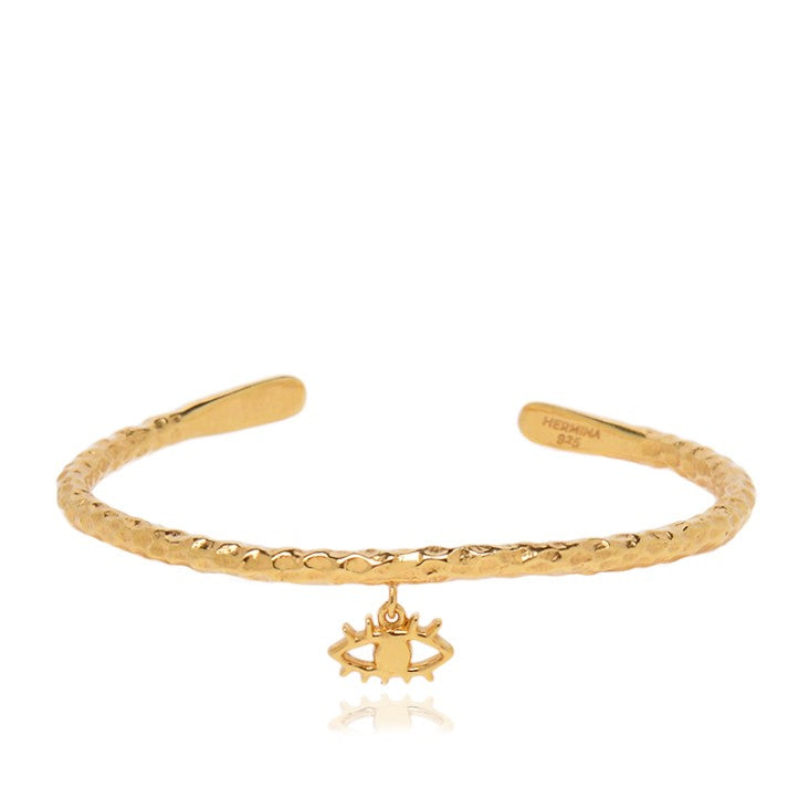 Ammos Eye Thin Cuff Gold Bracelet