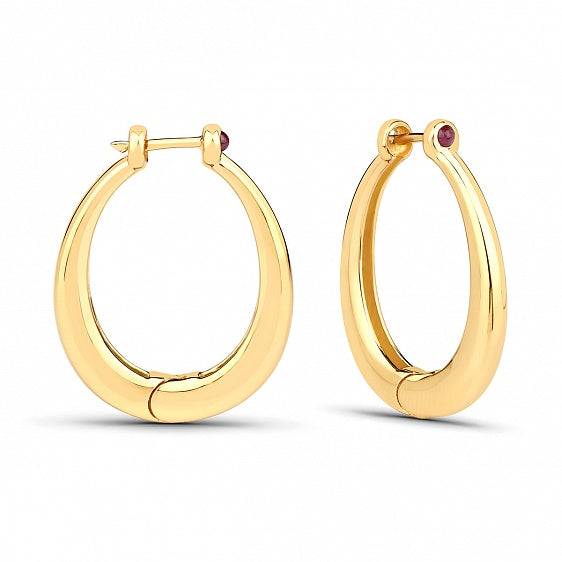 Ruby Hoops Antique - Gold