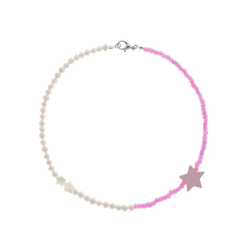 Gently Pink Choker With Stars And Pearls