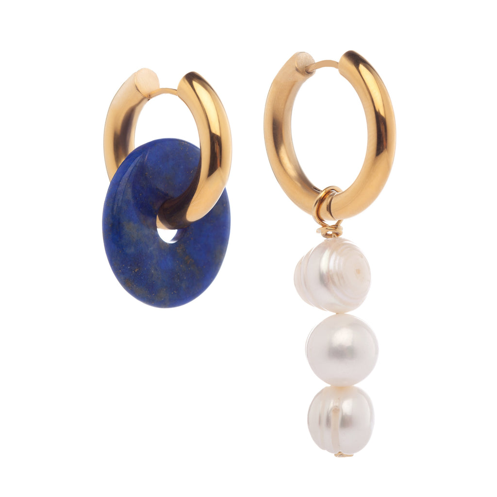 Mismatched Jade & Pearl Earrings Blue