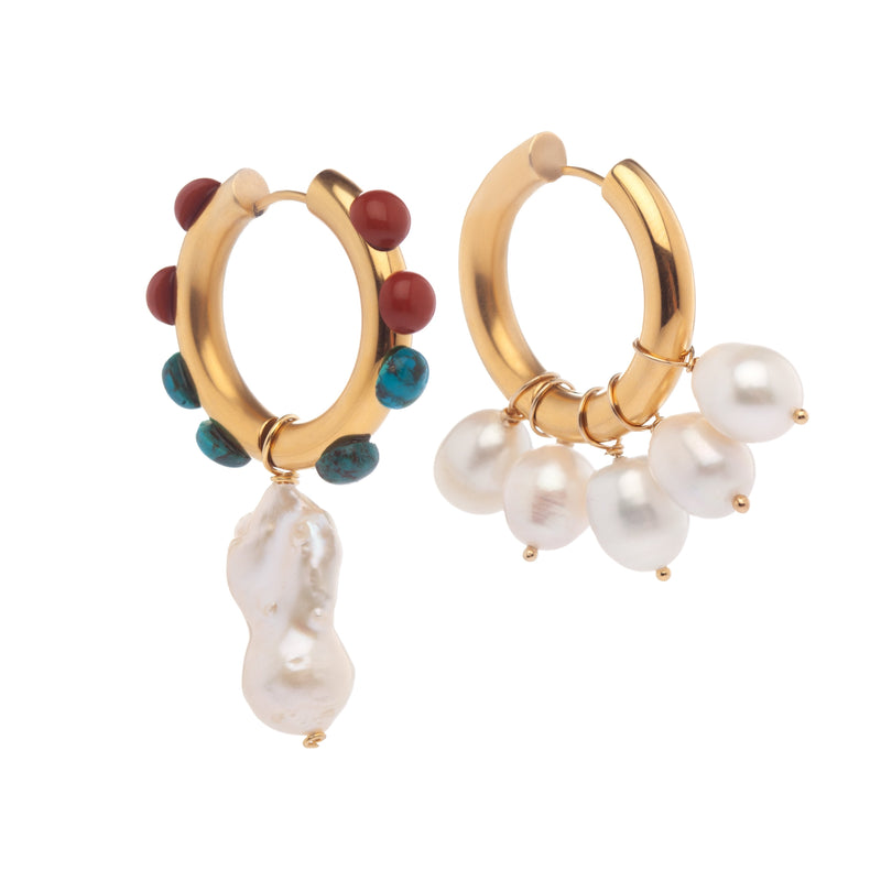 Mismatched Multicolour Pearl Earrings