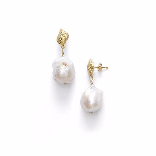 Baroque Pearl Earrings - Coral