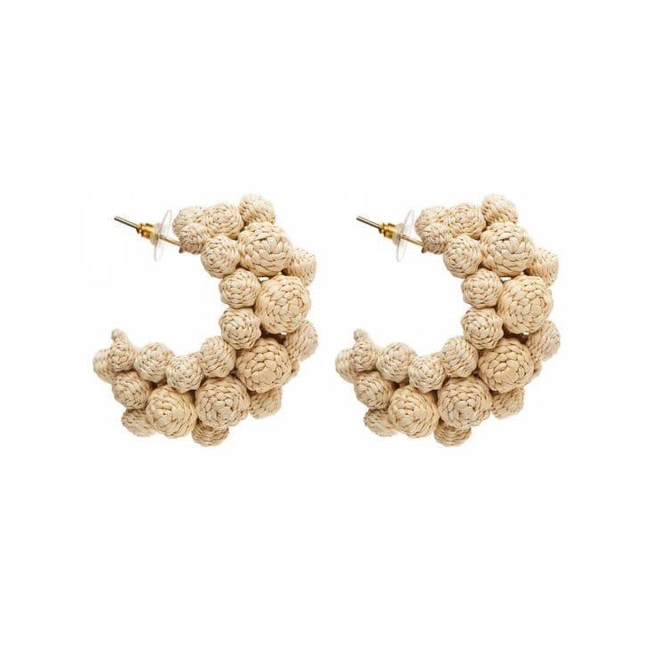 Iraca Palm Alegria Earrings Natural