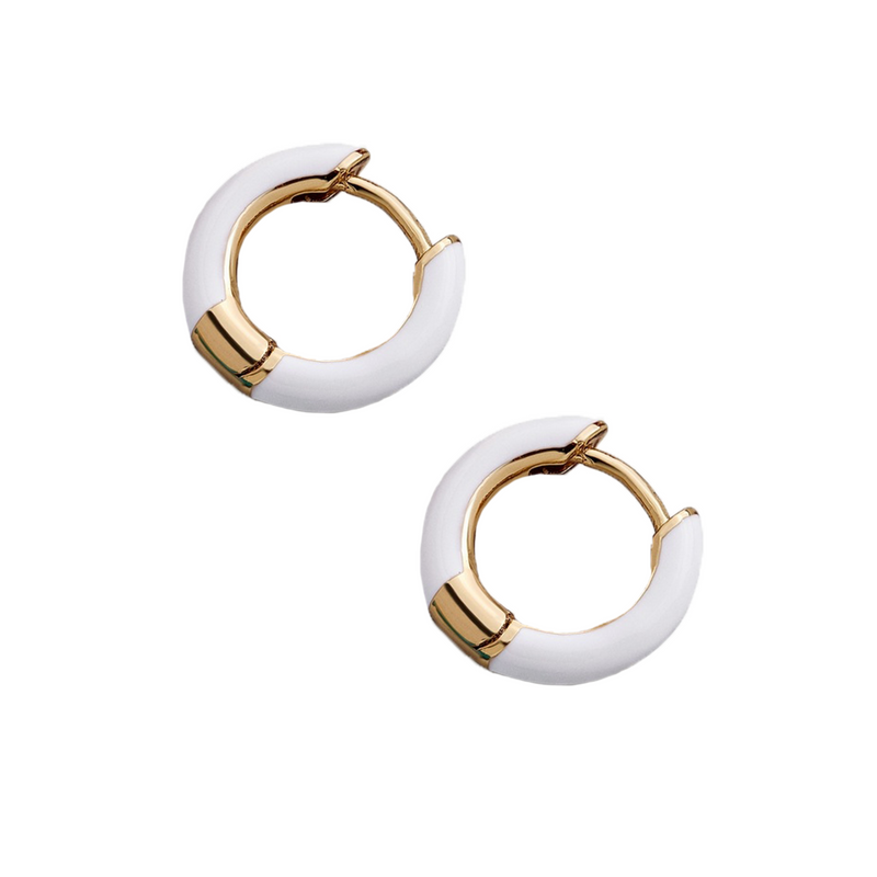 Haili Huggie Hoop Earrings-White