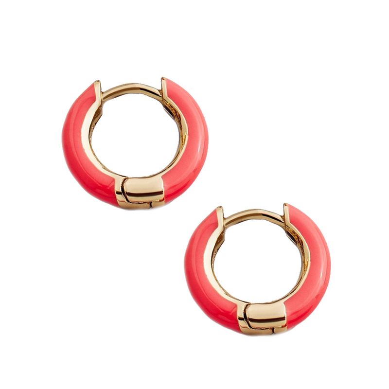 Haili Huggie Hoop Earrings-Coral