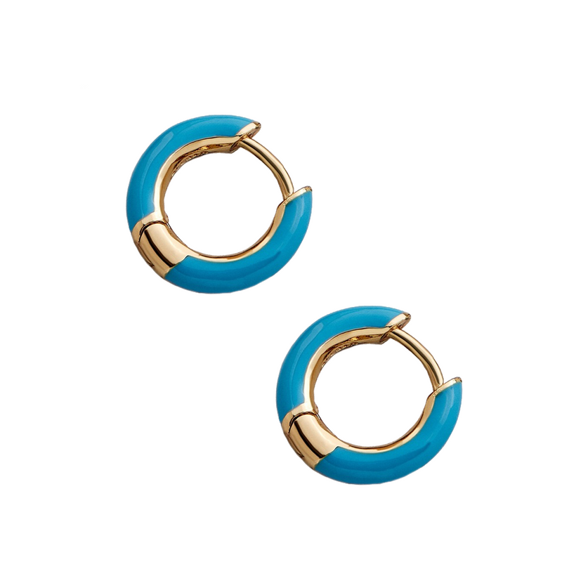 Haili Huggie Hoop Earrings-Blue
