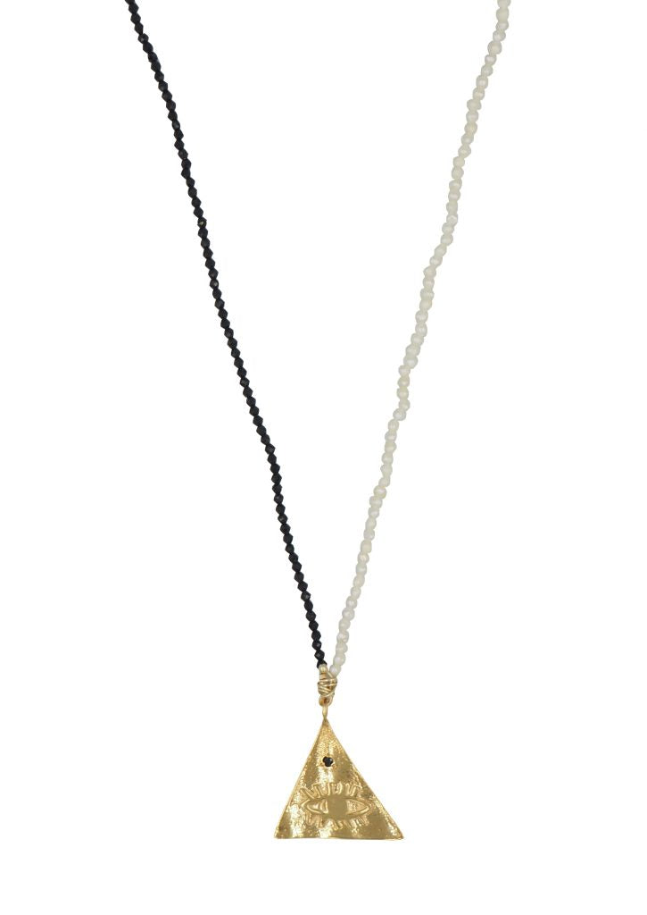 Kressida Large Pyramis Black & White Necklace
