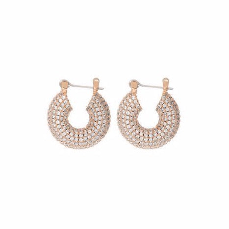 Pave Mini Donut Hoops - Rose Gold